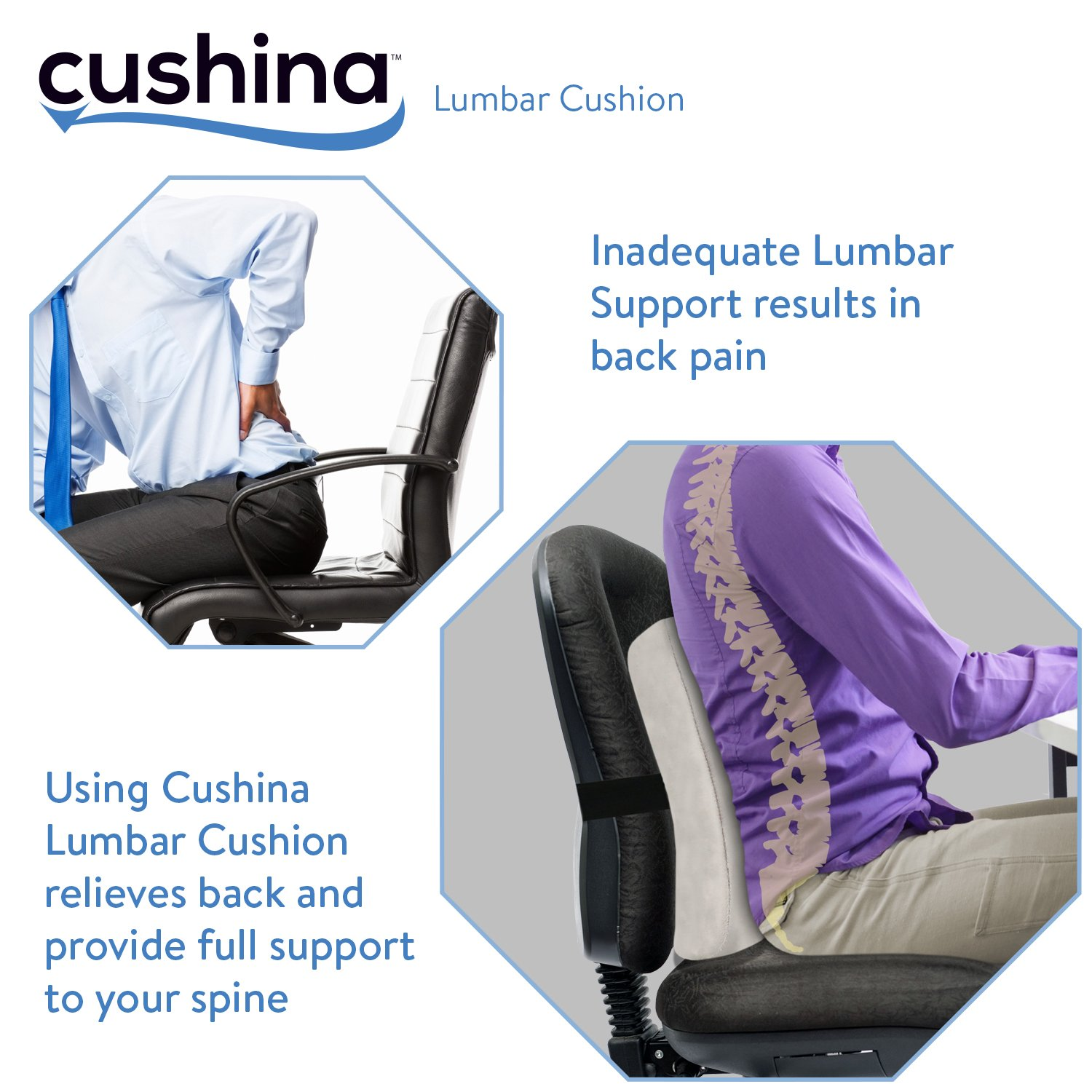 cushina lumbar back support cushion for back spine pain relief