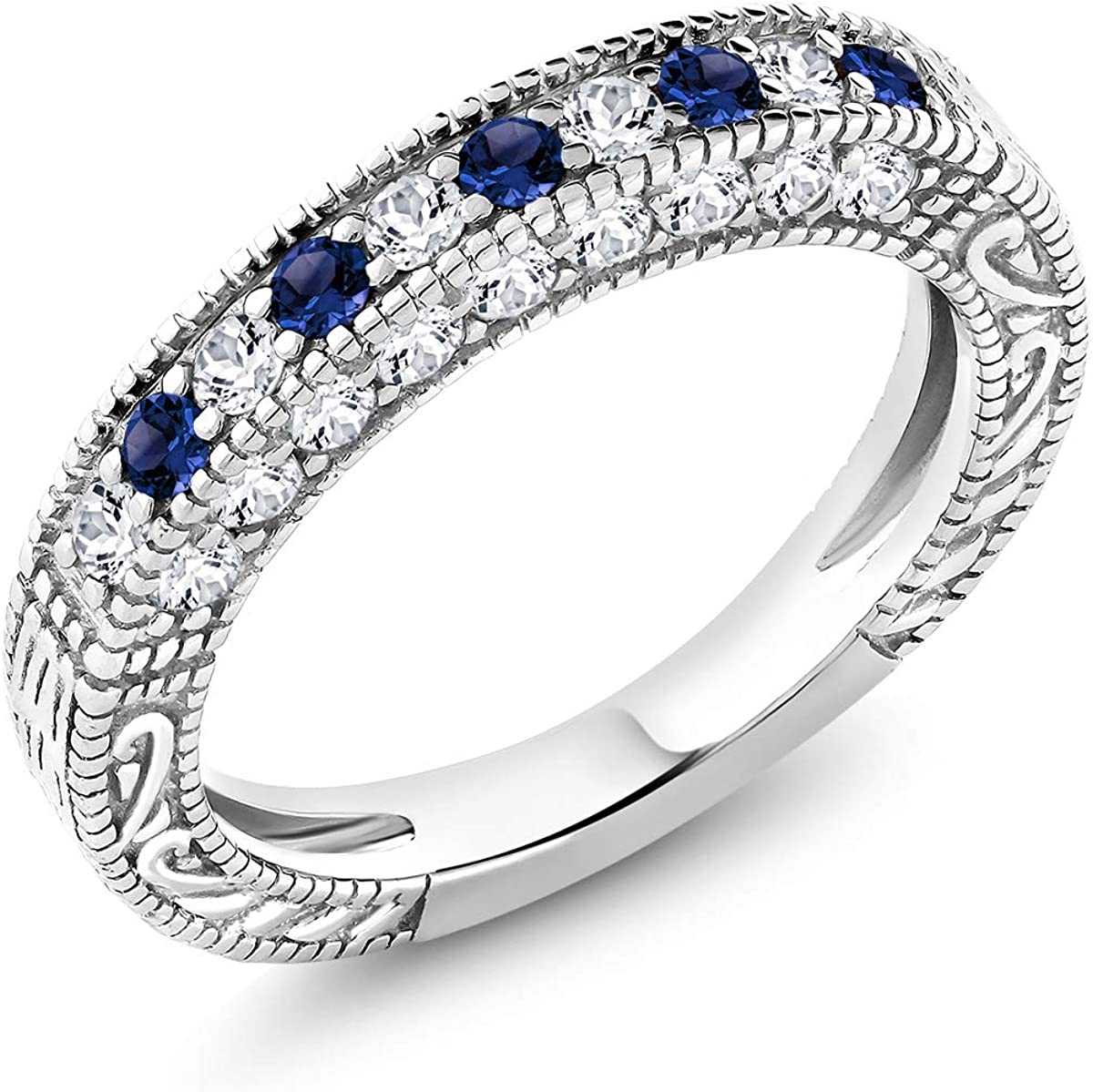 Gem Stone King 925 Sterling Silver Blue and White Created Sapphire Wedding Band Ring For Women (1.00 Cttw, Available 5,6,7,8,9)