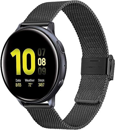 TRUMiRR Compatible con Galaxy Watch Active2/Galaxy Watc Active Correa, 20mm Correa de reloj de acero inoxidable de malla tejida para Samsung Galaxy Watch Active/Galaxy Watch Active2/Galaxy Watch3 41mm: Amazon.es: Deportes y aire