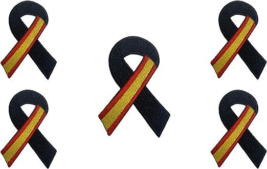 Pack 5 Parches Termoadhesivo Lazo Negro Bandera de España 7x5cm ...