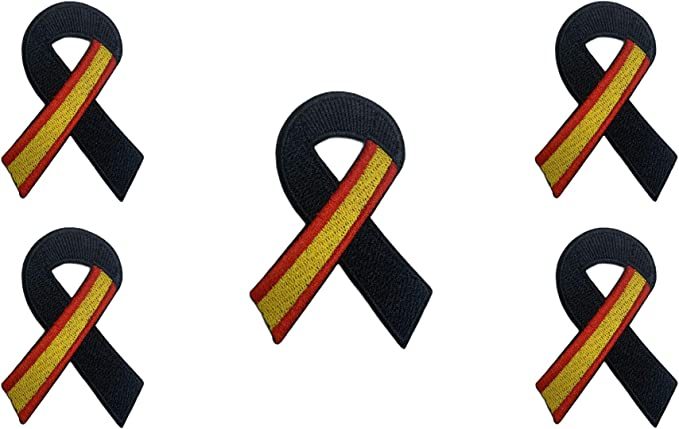 Gemelolandia | Pin Bandera España Lazo Negro Parche bordado lazo negro Pin España Bandera con Crespón