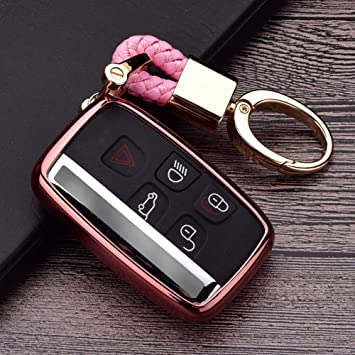 5 Buttons Full TPU Smart keyless Entry Remote Key Fob case Cover for Land Rover Defender Discovery Sport LR3 LR4 Range Rover Sport Evoque Velar,Jaguar XF XJ XJL XE F-PACE+Land Rover Keychain Pink