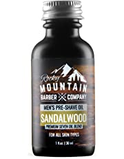 Pre-Shave Oil - Canadian Made With Sandalwood Essential Oil - Seven Oil Blend for a Smooth Shave by Rocky Mountain Barber