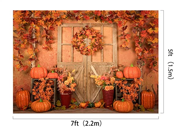 W H x1.5m Thanksgiving Backdrop Scarecrows Pumpkin Farm Backgrounds Rustic Harvest Video Photography Backgrounds Props Kate 7x5ft//2.2m