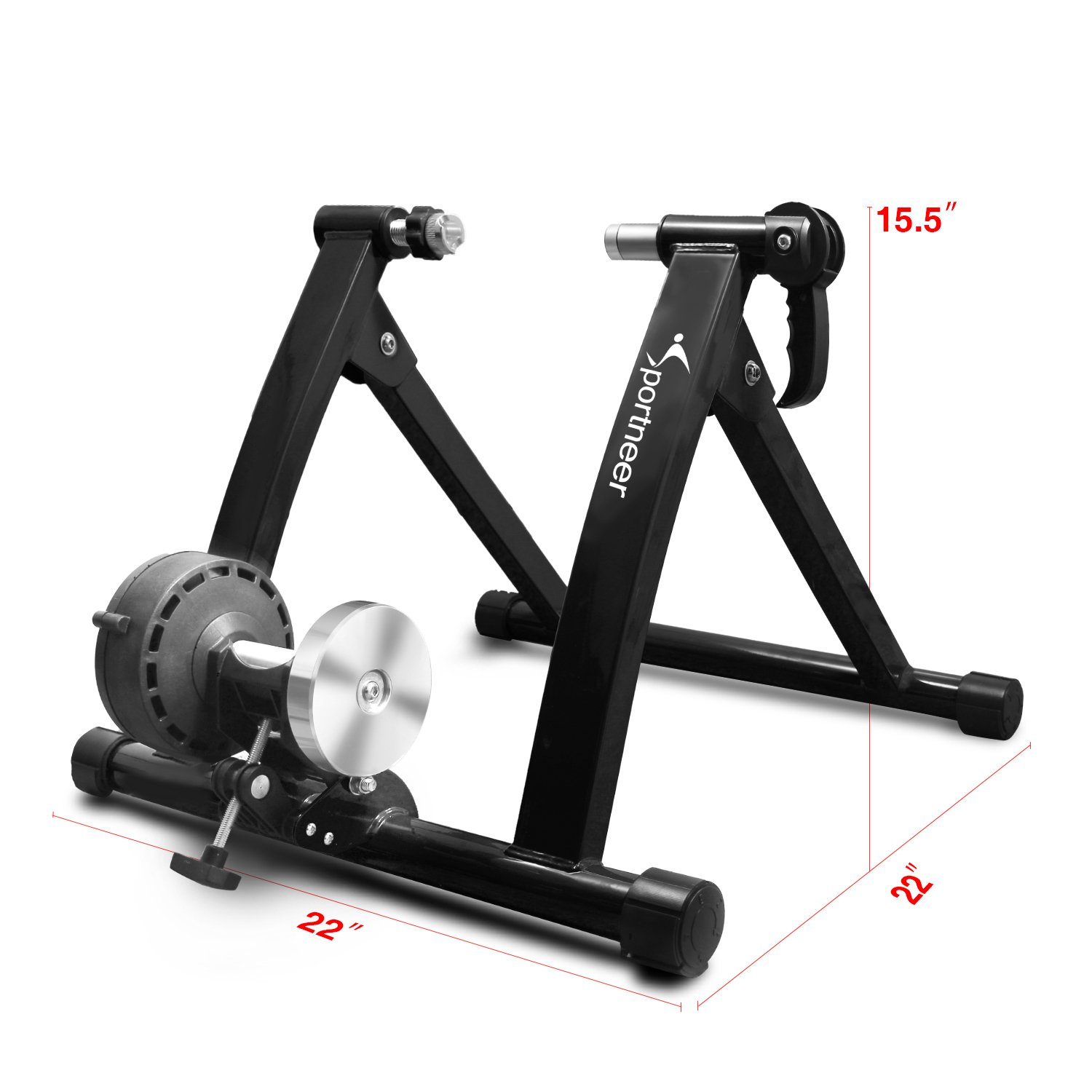 Sportneer Bike Trainer Stand Steel Bicycle Exercise Magnetic Stand with Noise Reduction Wheel, Black by Sportneer (Image #8)