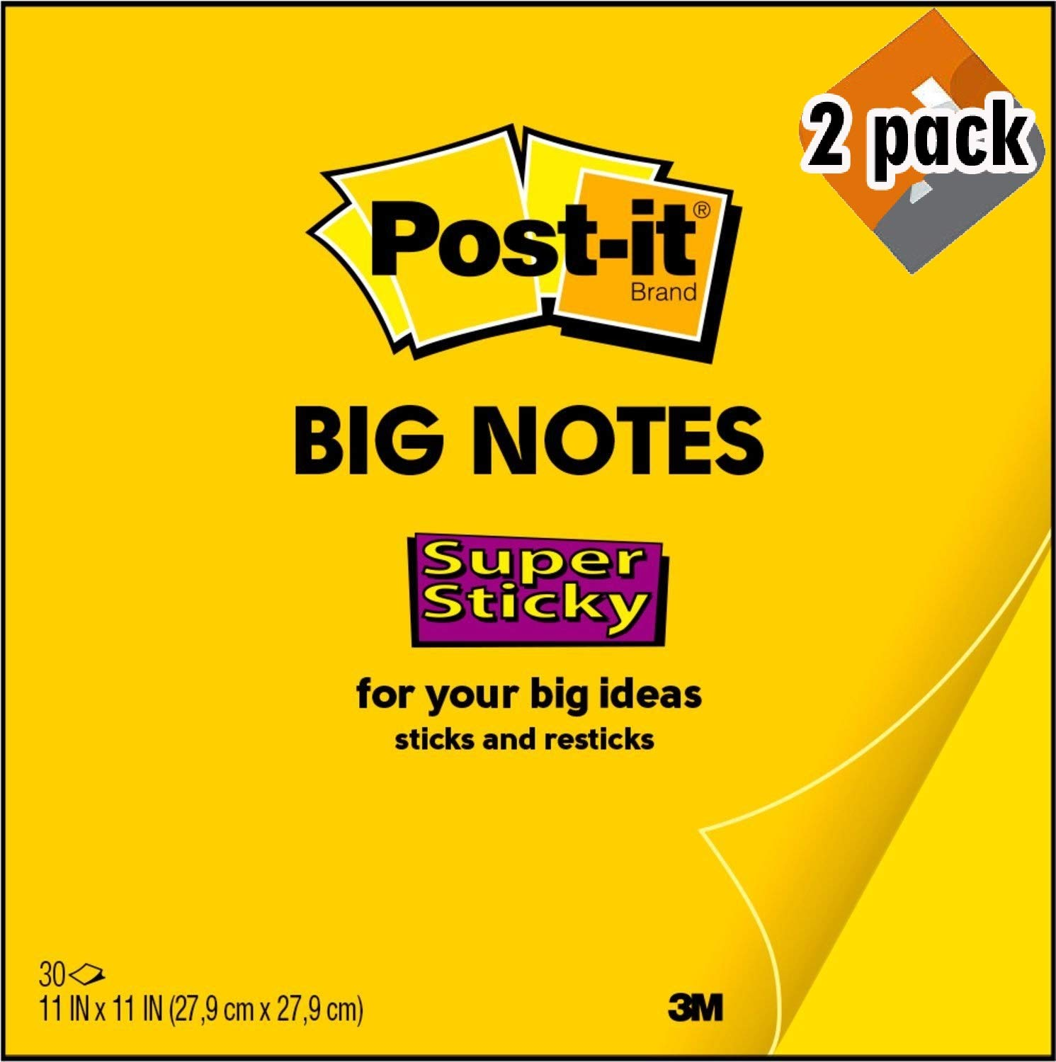 Post-it Super Sticky Big Notes, 11 x 11 Inches, 30 Sheets/Pad, 1 Pad (BN11), Large Bright Yellow Paper, Super Sticking Power, Sticks and Resticks (2 Pack)