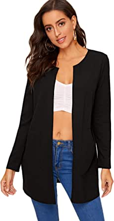 MakeMeChic Women's Casual Open Front Pocket Long Sleeve Longline Coat
