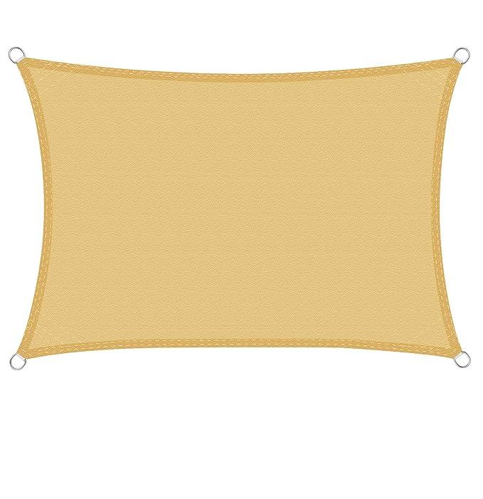 Vela Ombraggiante Resistente e Traspirante per Giardino Balcone Terrazza Cool Area Tenda a Vela Rettangolare 3 x 4 Metri Protezione Raggi UV Colore Sabbia