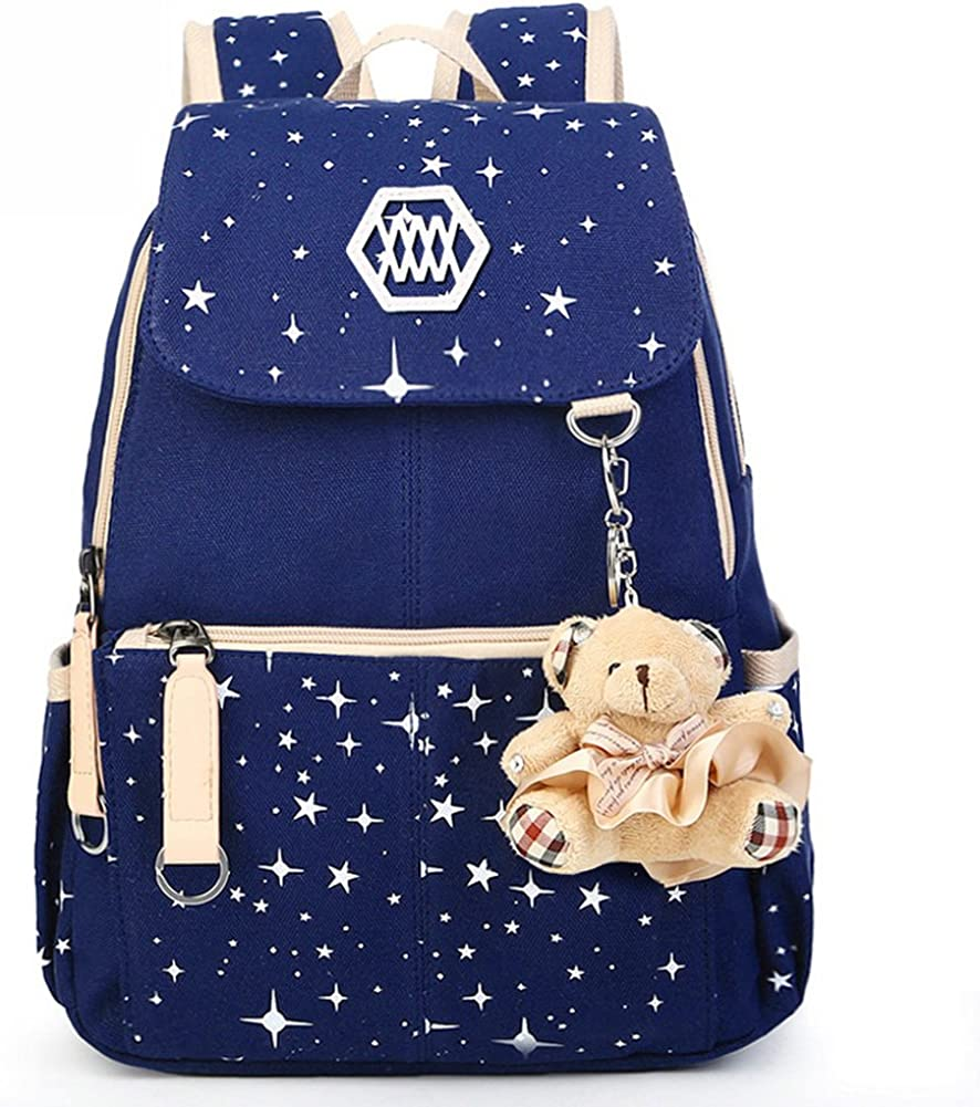 YiYiNoe Canvas School Backpack Rucksack Bookbag for Girls,Star Printed Weekend Shoulders Bag for 15.6 Laptop