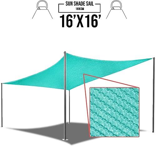 E K Sunrise 16 x 16 Turquoise Green Rectangle Sun Shade Sail Outdoor Shade Cloth UV Block Fabric,Curve Edge-Customized
