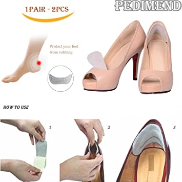 2Pcs Silicone Gel Shoe Heel Comfort Pads Liner Grip Soft Feet Care Protector New