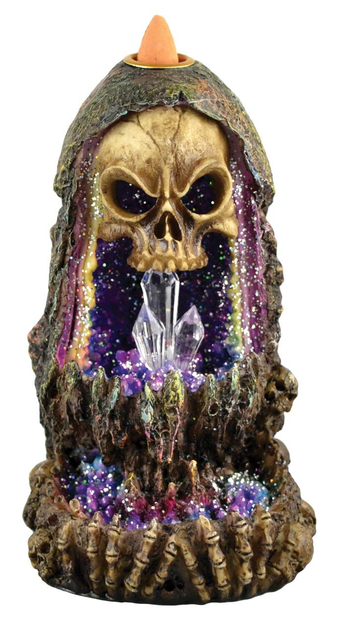 Fantasy Gifts Geode Skull Back Flow Incense Burner w/LED - 6.5'' by Fantasy Gifts (Image #1)