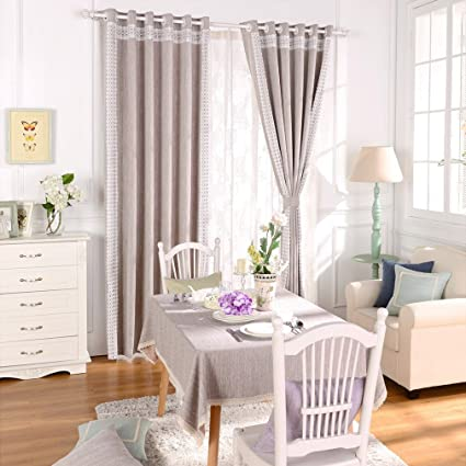 Merveilleux Lace Romantic Bedroom Window Curtains,Taupe Blackout Drapes Panel For  Living Room,Plain Cafe
