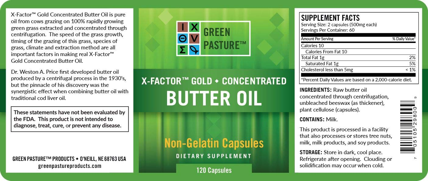 X-Factor Gold High Vitamin Butter Oil 120 Caps (2 Pack)