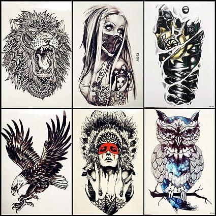 lijinjin 6 Unidades/Lote Chica Caliente con Máscara Tatuajes ...