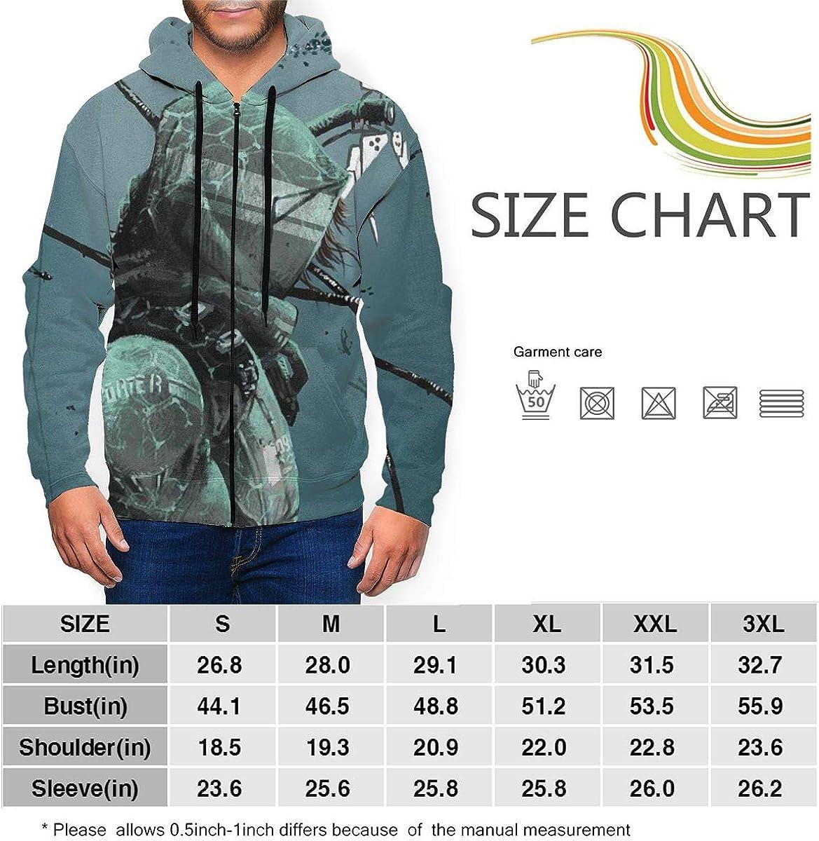 DEA-th stranding Mens Full-Zip Long-Sleeve Hooded Sweatshirt with Pocket,