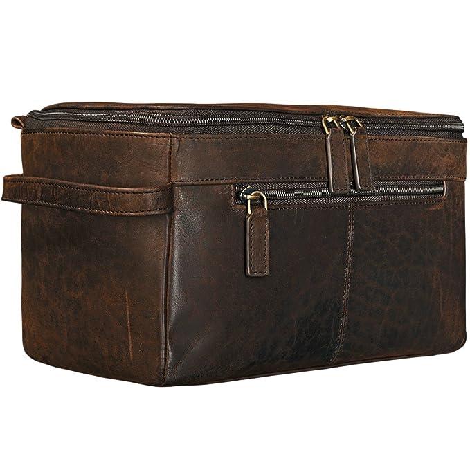5bd97b1c81 STILORD  Mona  Vintage Beauty Case for Women Brown Toilet Bag Toilet Kit  with Wrist Strap Sponge Bag Overnight Bag Leather Cognac Brown