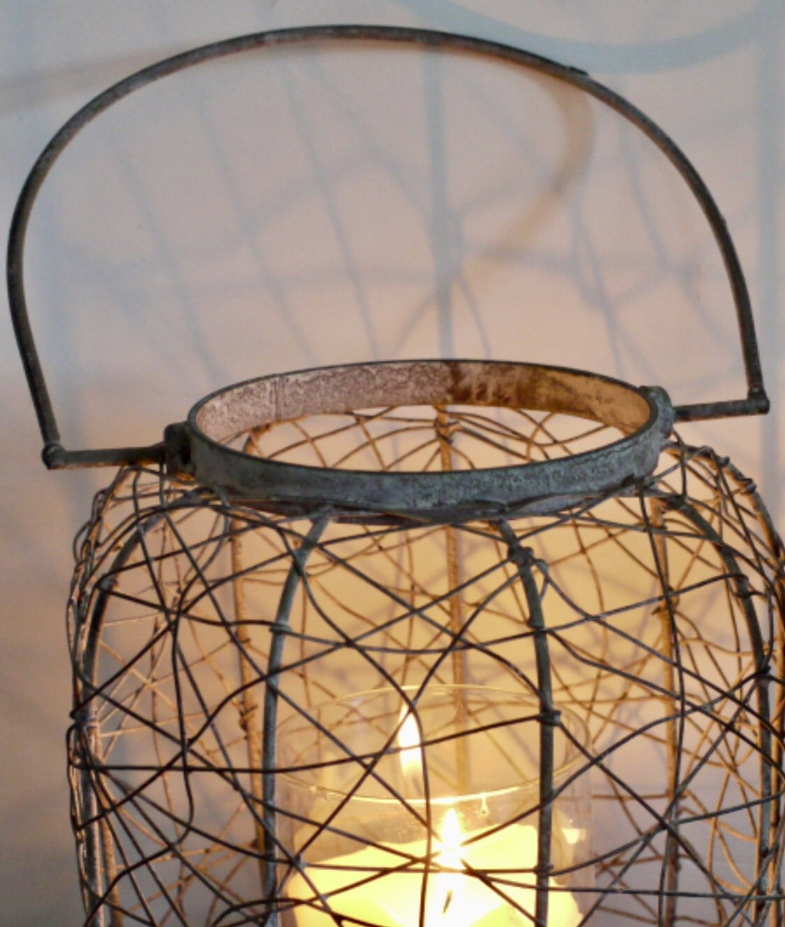 Dutch Imports Distressed Vintage Grey Metal Lantern Metal Pillar Candle Holder 35cm