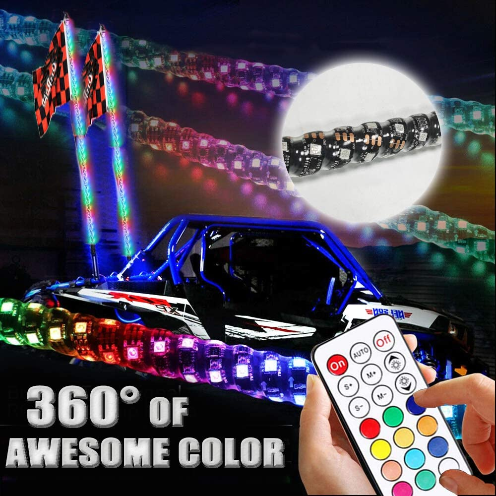AddSafety 5FT RF Remote Control LED Whips Light with Dancing//Chasing Lights for Off-Road ATV UTV RZR Jeep Truck Dunes