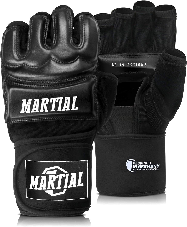 hochwertige Konstruktion Kampfsport MMA Handschuhe Profi von MARTIAL Boxhandschuhe Boxsack Boxen Freefight professionelle Qualit/ät Schwarz Sandsack Training Grapling