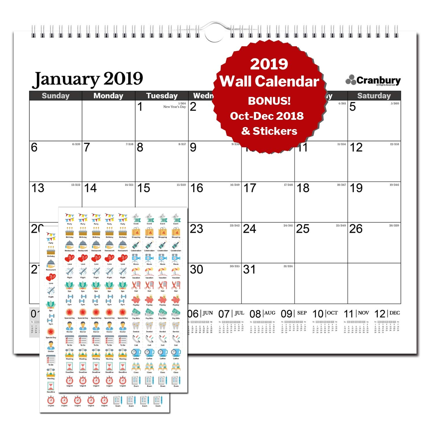"Large Wall Calendar 2018-2019 Monthly: Hanging Calendar with Planner Stickers for Family and Office, 15 Months 15x12"" (Black), USE Now - October 2018 to December 2019, by Cranbury by Cranbury (Image #1)"