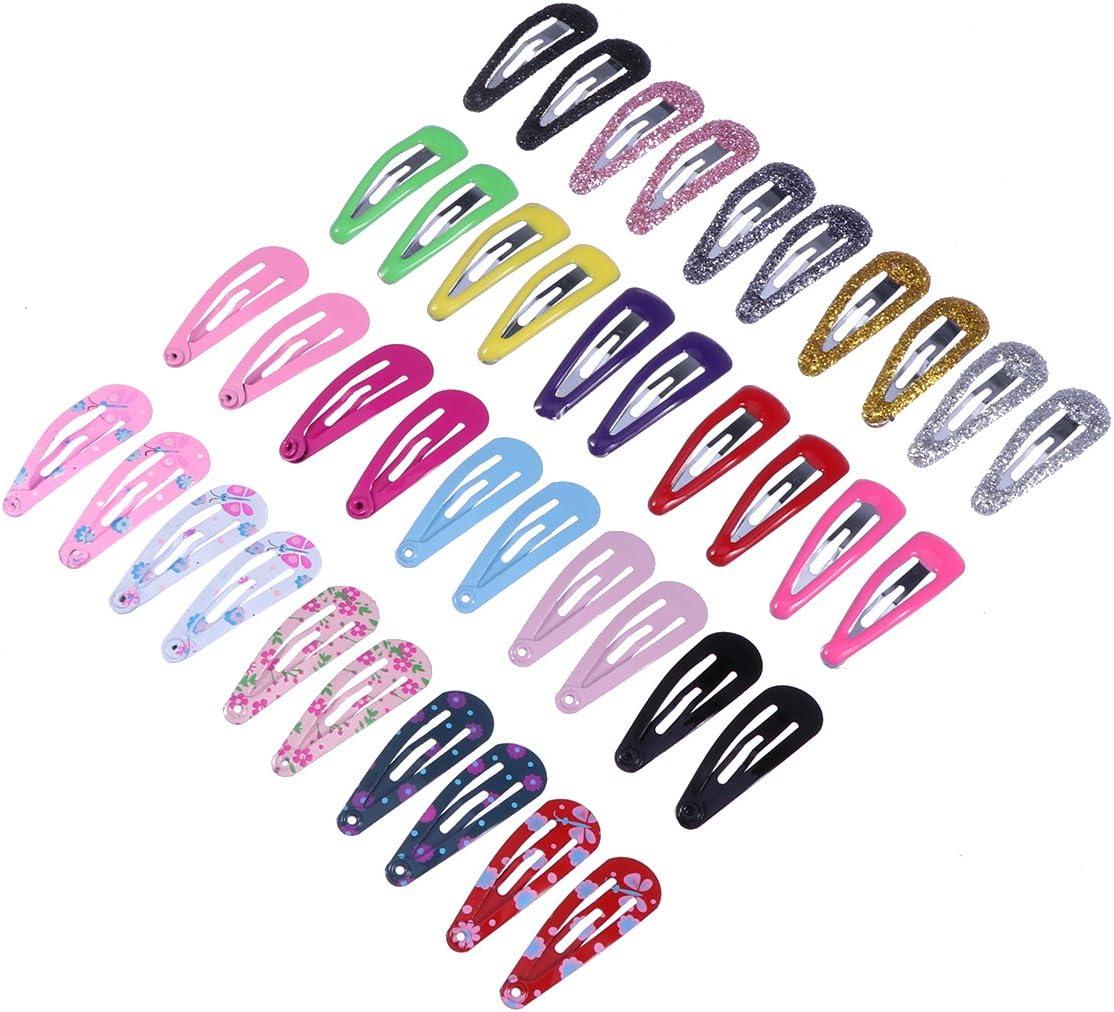 Yeahibaby 100 unids 9 sets broches de pelo a presión sin deslizamiento metal pinza de pelo Barrettes para niñas niños pequeños accesorios para el cabello de los niños (estilo mixto)