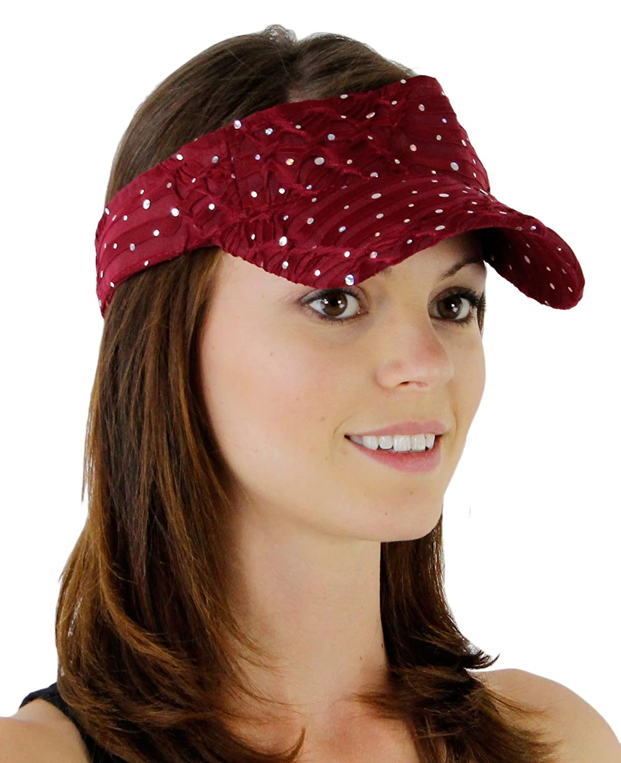 Glitter Sequin Visor with Flowers for Ladies Beige One Size Greatlookz Fashion 6HART71285:C601