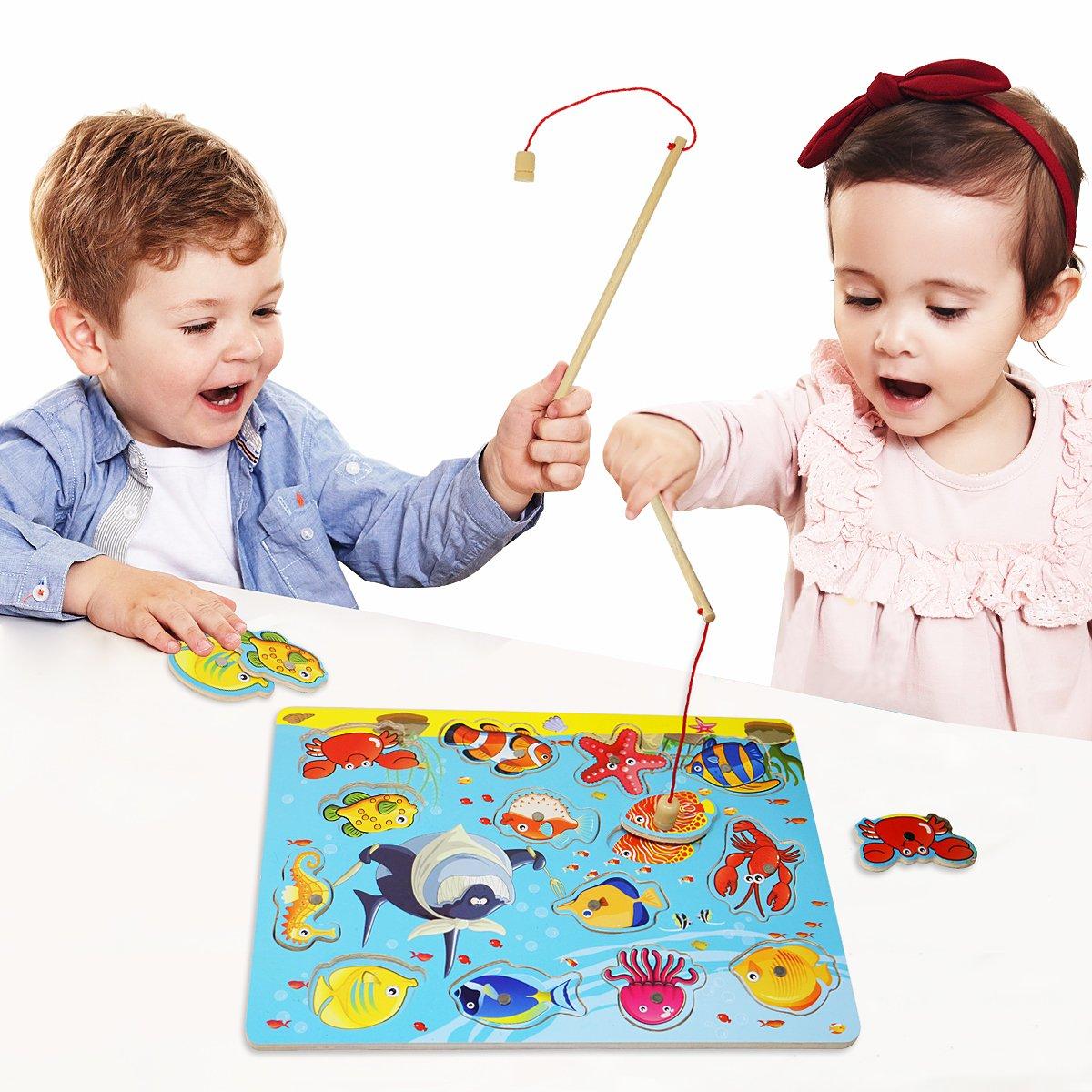 Lewo Magnetisches Holzpuzzles Angeln Spielzeug für 3 4 5 Jährige Kind Baby Kleinkind Jungen Mädchen Magnet Spielzeug mit 114Fischen und 2 Magnetpol Muwanzi