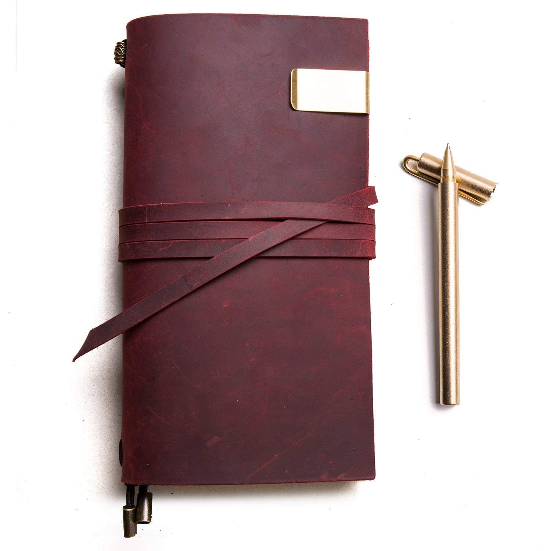 Genuine Leather viaggiatori notebook-ricaricabile in pelle diario di viaggio di scrittura (verde(Green), Standard size 8.7W × 4.9L Inches) Standard size 8.7W × 4.9L Inches) IPBEN
