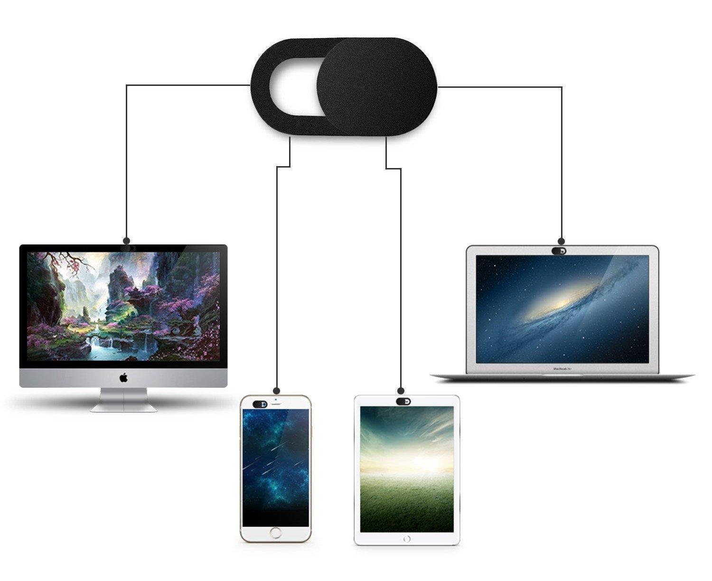 TechMaker 3pcs Volets caches Webcam ultrafins coulissants et Autocollants universels pour Blocage des caméras frontales de Smartphone Tablette et PC Portable - Protection de Vie privée - Noir