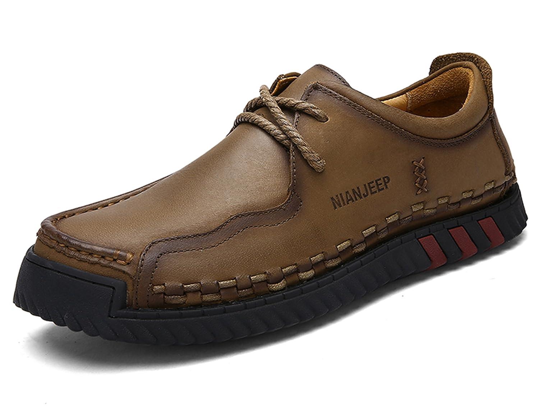 MAN JEEP Chaussures en Cuir de Vache Occasionnels Hommes Élégant Durable Respirant et Anti-Dérapant Trekking Hommes Chaussures en Cuir Outdoor Sports Chaussures Basses Chaussures de Randonnée QILOUGE