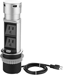 Link2Home Space Saver Pop Up Outlet Station with USB, 2 Power Outlets 15A, 2 USB Ports 2.4A Fast Charge Splash Resistant, Stainless-Steel Finish, for Kitchen Counter Island, Office Table and Workshop