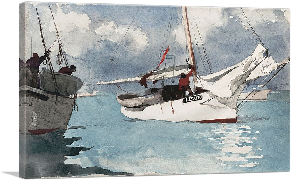 ARTCANVAS Fishing Boats - Key West 1903 Canvas Art Print by Winslow Homer - 26'' x 18'' (0.75'' Deep) by ARTCANVAS