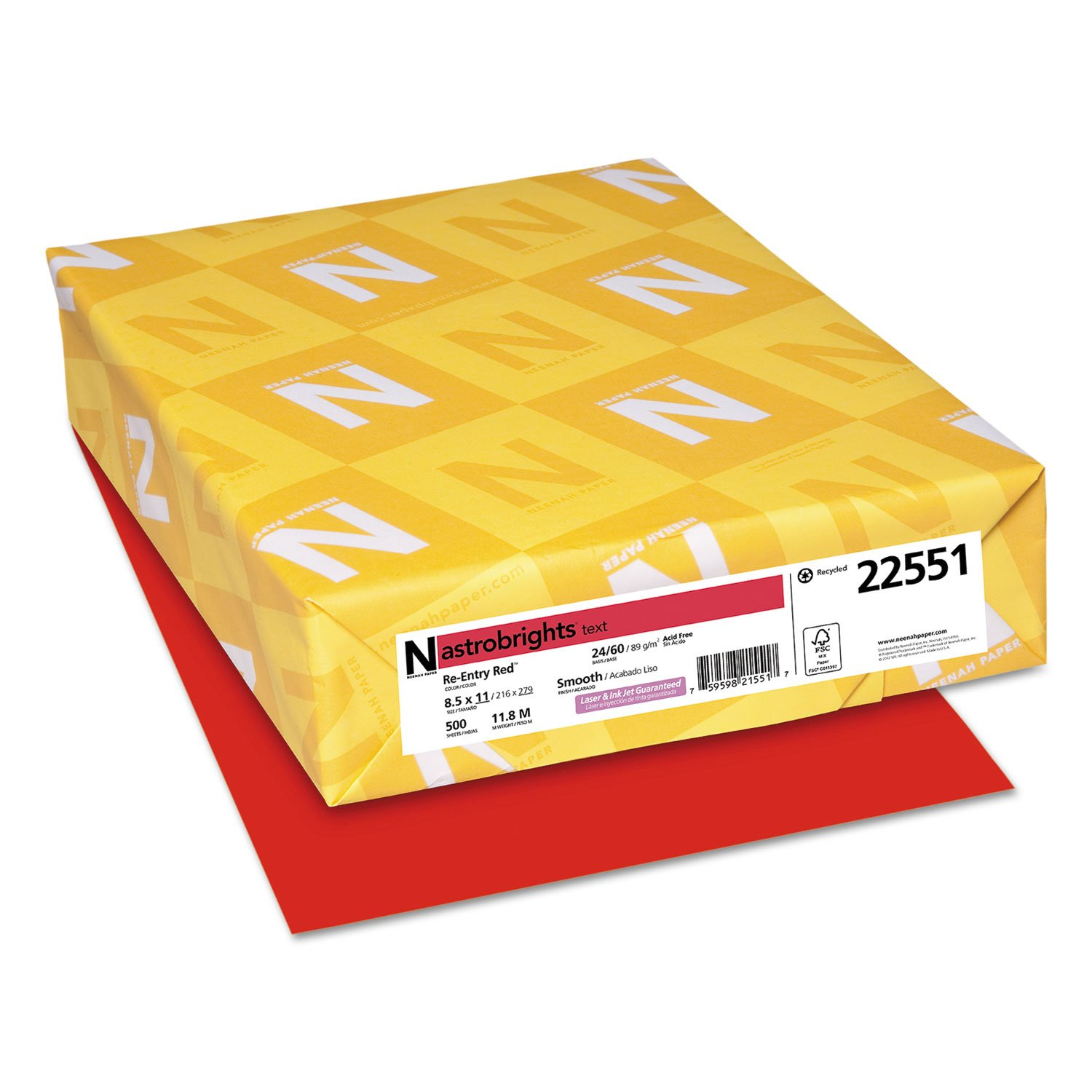 Color Paper, 24lb, 8 1/2 X 11, Re-Entry Red, 500 Sheets