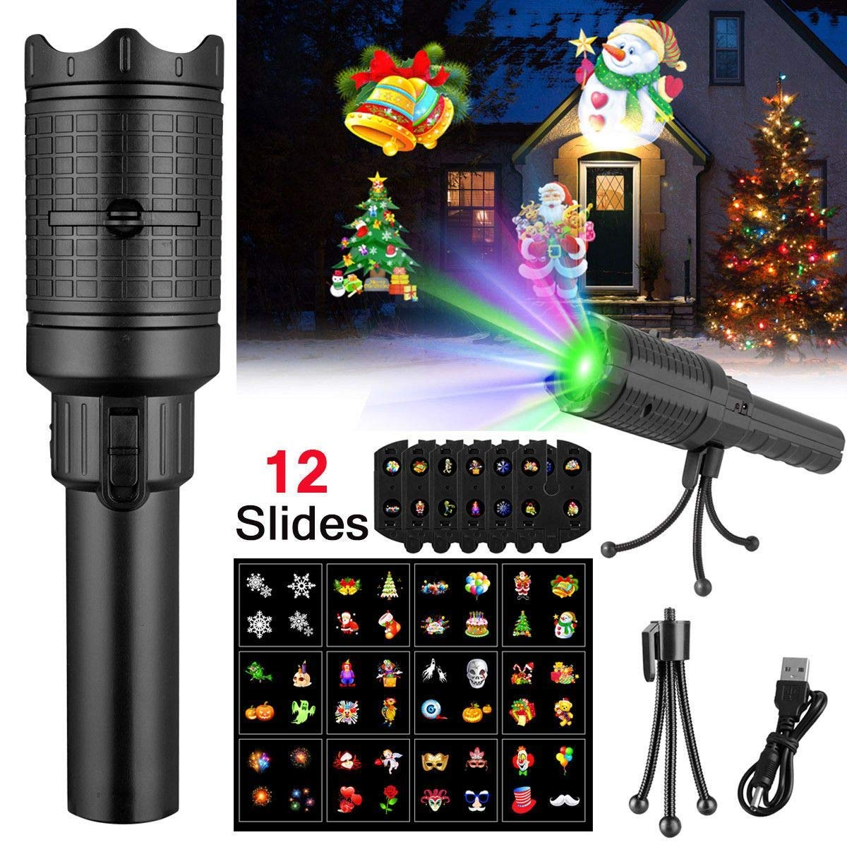 Christmas Projector Flashlight 12 Slides Handheld Projection Holiday Lightsfor Xmas Kids Gift Toys,Battery-Operated by Wishwill