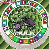 prédécoupée glaçage comestible pour gâteau–19,1cm rond Vert Incroyable Hulk avec étoile Bordure