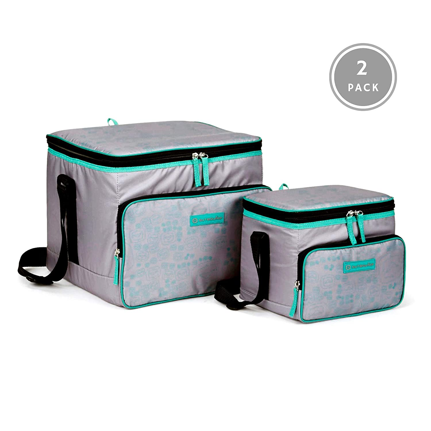 OUTBOUND Soft Cooler Portable 2-Piece Insulated Large 24 Can, and Small Lunch 6 Can Cooler for Beach, Camping, and Outdoors Collapsible, Gray