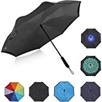 G4Free Double Layer Inverted Umbrella Cars Reverse Open Folding Umbrellas, Windproof UV Protection Large Upside Down Straight Umbrella for Car Rain with Rubber Coated ABS Handle