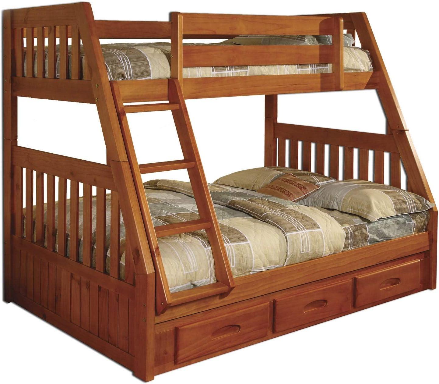 American muebles Classics – Miel de pino/madera twin-over-full 3 cajones bajo cama con Bono, cabaña, de escritorio y silla: Amazon.es: Hogar