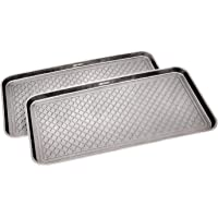 Great Working Tools Boot Trays - Set of 2 Gray All Weather Heavy Duty Shoe Trays, Pet Bowl Mats Trap Mud, Water and Food…
