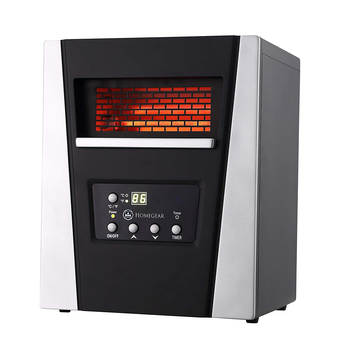 Homegear 1500 SqFt Infrared Electric Portable Space Heater Black Remote Control Renewed