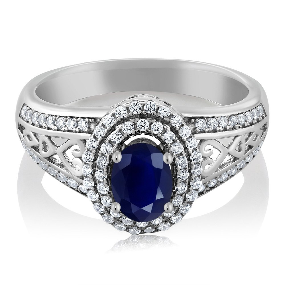 Gem Stone King Blue Sapphire 925 Sterling Silver Gemstone Birthstone Women's Ring 1.41 cttw, Center Stone: 6x4mm (Size 7)