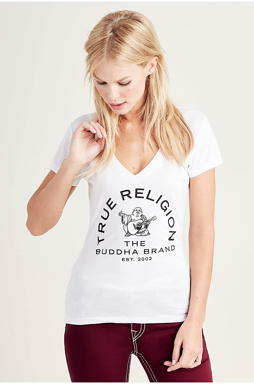 True Religion Women's Arch Buddha Crystal Deep V Neck T Shirt in White