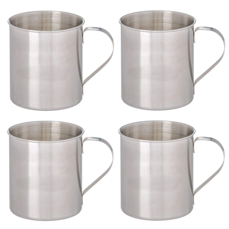 Thirsty Rhino Seles, Stainless Steel Moscow Mule Mug, Brushed Silver Finish, 12 oz (Set of 4)