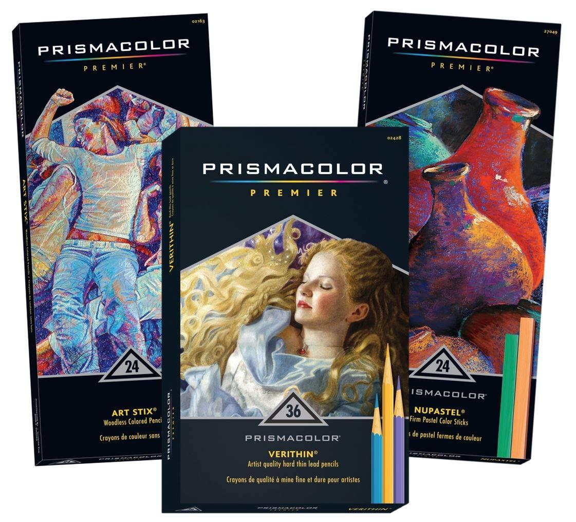 Prismacolor Premier 24-Count Art Stix Colored Pencils, 36-Count Verithin Colored Pencils & 24-Count NuPastel, Total of 84
