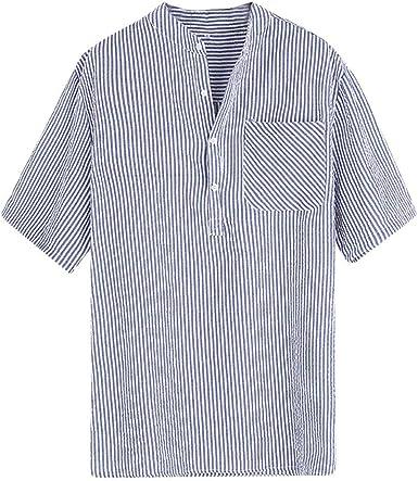 XuanhaFU Camisetas Hombre Bolsillo Casual con Botones a Rayas ...