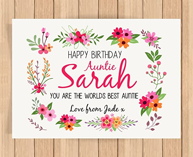 Personalised Presents Gifts For Auntie Mentor Teacher Baby Sitter Family Friends Birthday Christmas Xmas Party Flowers Floral Pattern Prints Posters Wall