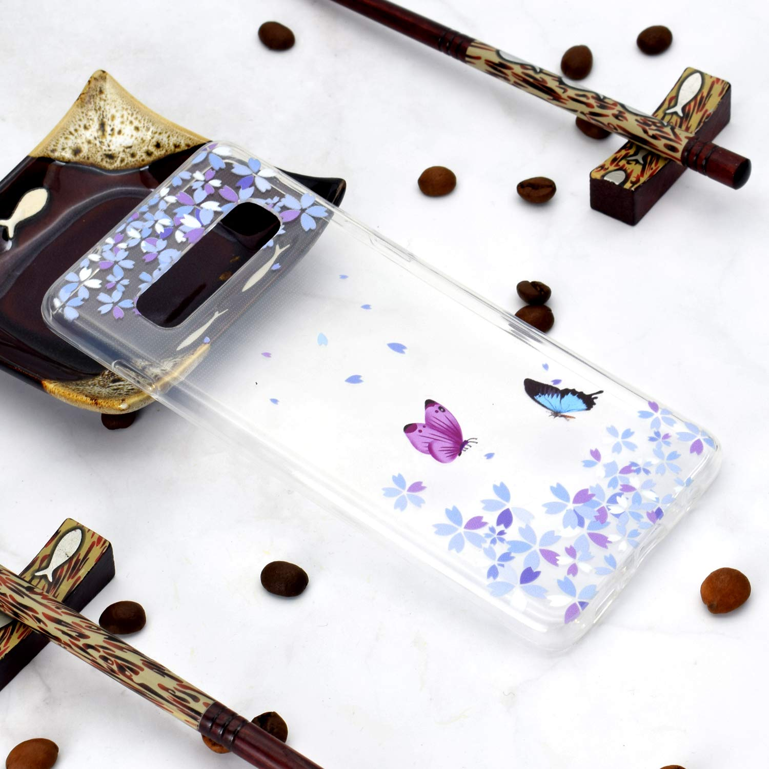 Blue Dreamcatcher Feather Mandala HopMore 3 x Case Cover for Samsung Galaxy S10 Silicone Clear with Pretty Design Shockproof Case Protective Cover Transparent Thin Gel Slim Bumper for Girls Woman