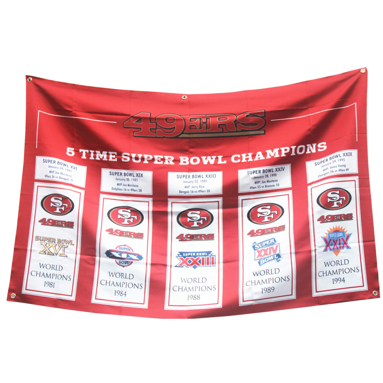 SF '49ers 5 in 1 Football Super'Bowl Championship Big Flag 3x5 Outdoor/Indoor Garden 49er Huge Banners san Francisco