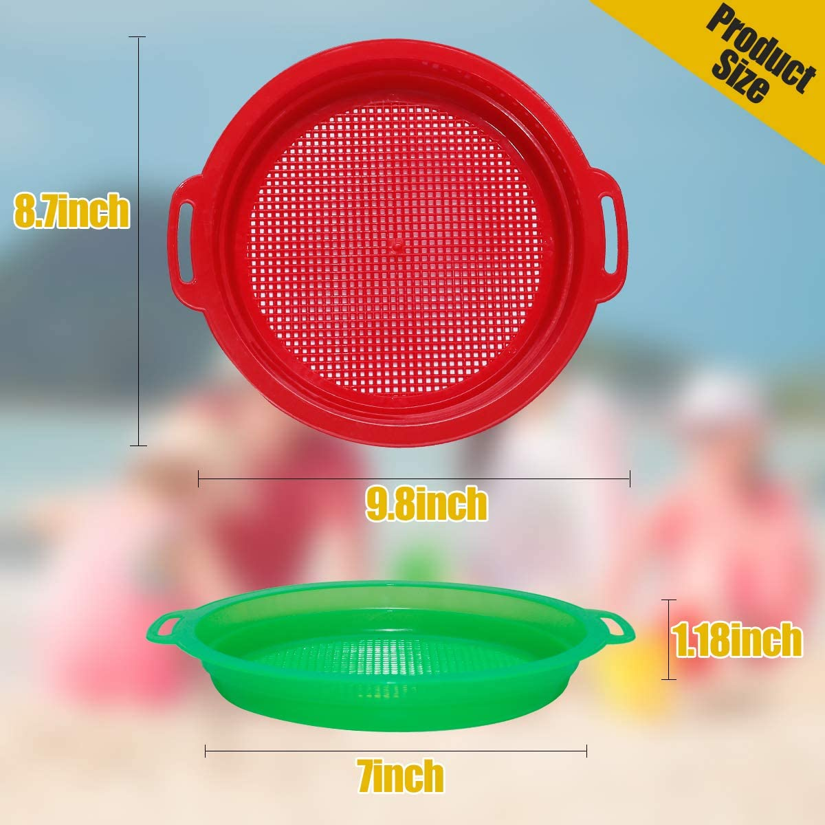 Holady 4 Pack Multicolor Sand Sifter Sieves,Plastic Sand Sifter for Backyard Park Party Favor Sand and Beach 4 Colors